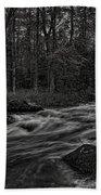 Prairie River Whitewater Black And White Beach Towel