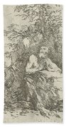 Praying Male Penitent In The Wilderness Beach Towel