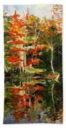 Prentiss Pond, Dorset, Vt., Autumn Beach Towel