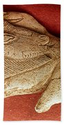 Prehistoric Bison Carving Beach Towel