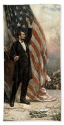 President Abraham Lincoln - American Flag Beach Towel