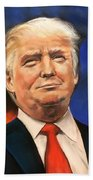 President Donald Trump Portrait Beach Sheet