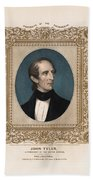 President John Tyler - Vintage Color Portrait Beach Sheet
