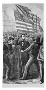 President Lincoln Holding The American Flag Beach Towel
