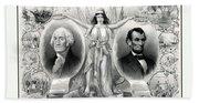 Presidents Washington And Lincoln Beach Towel