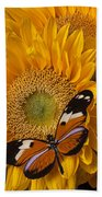 Pretty Butterfly On Sunflowers Beach Towel