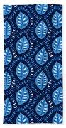 Pretty Decorative Blue Leaves Pattern Beach Towel