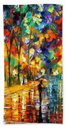 Pretty Night - Palette Knife Oil Painting On Canvas By Leonid Afremov Beach Towel