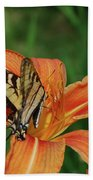 Pretty Orange Lily With A Butterfly On It's Petals Beach Towel