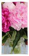 Pretty Pink Peonies In Ball Jar Vase Beach Towel