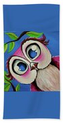 Pretty Pinky Owl Beach Towel