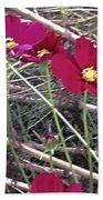 Pretty Red And Yellow Flowers In The Twigs Beach Towel