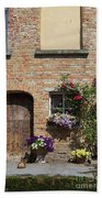 Pretty Terrace Beside The Groenerei Canal In Bruges Belgium Beach Towel
