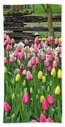 Pretty Tulips Garden Beach Towel