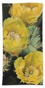 Prickle Pear Cactus Flower Trio Beach Towel