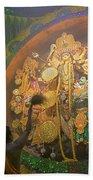Priest Praying To Goddess Durga Durga Puja Festival Kolkata India Beach Towel