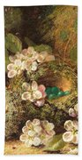 Primroses And Bird's Nests On A Mossy Bank Beach Towel