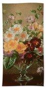 Primulas In A Glass Vase  Beach Towel