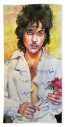 Prince Rogers Nelson Holding A Rose Beach Towel