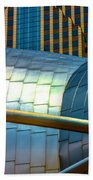 Pritzker Pavilion And Prudential Plaza Dsc2753 Beach Towel
