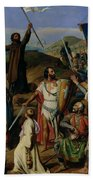 Procession Of Crusaders Around Jerusalem Beach Towel by Jean Victor Schnetz