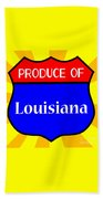 Produce Of Louisiana Shield Beach Towel