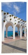 Promenade In Nerja Beach Towel
