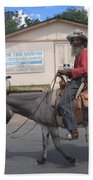 Prospector Re-enactor With Burro Passing Rose Bush Museum Sign Tombstone  Arizona 2004 Beach Towel