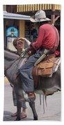 Prospector Re-enactor With Fan Allen Street Tombstone Arizona 200 Beach Towel