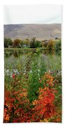 Prosser Autumn River With Hills Beach Towel by Carol Groenen