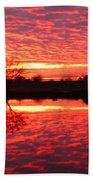 Dramatic Orange Sunset Beach Towel