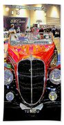 Psychedelic 1947 Delahaye 135m Letourner Et Marchand Cabriolet Beach Towel