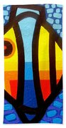 Psychedelic Fish Beach Towel by John  Nolan