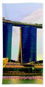 Psychedelic Marina Bay Sands Hotel Singapore Beach Towel