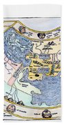 Ptolemaic World Map, 1493 Beach Towel