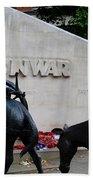 Public Memorial Honoring Military Animals In War London England Beach Towel