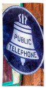 Public Telephone Sign Beach Towel