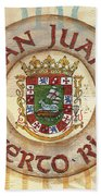Puerto Rico Coat Of Arms Beach Towel by Debbie DeWitt
