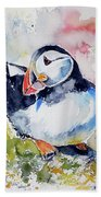 Puffin On Stone Beach Towel