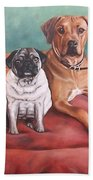 Pug And Rhodesian Ridgeback Beach Towel