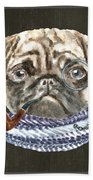 Pug Monacle Scarf Pipe Dogs In Clothes Beach Towel