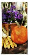 Pumpkin Corn And Asters Beach Towel