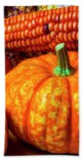 Pumpkin Corn Still Life Beach Towel
