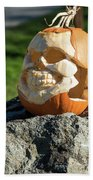 Pumpkin Skull Beach Towel