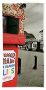 Punch And Judy Theatre On Llandudno Promenade Beach Towel