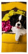 Puppy In Yellow Bucket  Beach Towel