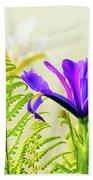 Purple And Blue Iris Beach Towel