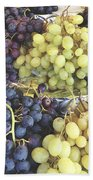 Purple And Green Grapes Beach Towel