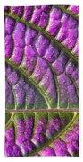 Purple And Green Leaf Beach Towel