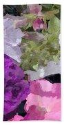 Purple And Pink Petunias Oil Painting Beach Towel